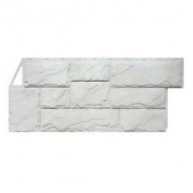 Цокольный сайдинг FineBer Камень крупный Мелованный белый